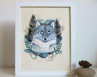Art - Wolf Art - Wolf Illustration - Illustration - Original Art - Wolf Painting - Animal Art - Original Painting - Winter Wolf