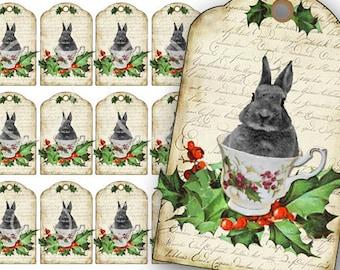 Christmas Bunny Rabbit Tags, Bunny in a Tea Cup, Printable Download, Brown Bunny Rabbits, Printable gift Tags, Tea cup, holly, Holiday tags,