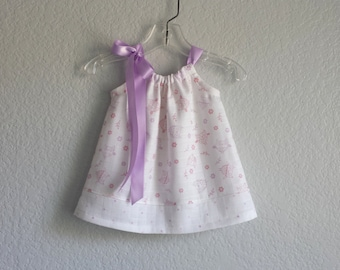Baby Girls Pillowcase Dress and Bloomers -  Lavender and Pink Owls on White - Infant Sun Dress with Owls and Polka Dots - Sizes Nb, 3m or 6m