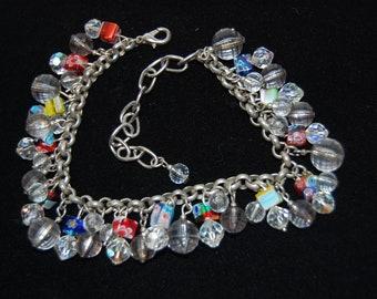 Blown Glass and Crystal Bracelet Adjustable Length