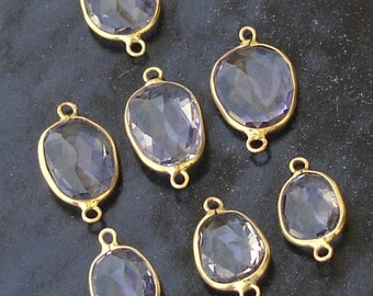 925 Sterling Silver, PINK AMETHYST, 24K Gold Plated Connector,ONE Piece of 13-18mm
