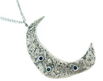 large silver crescent moon quote necklace . recycled silver and fair trade blue sapphire moon necklace . lunar necklace by peaces of indigo