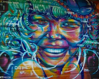 graffiti woman face photo print photography 11x14