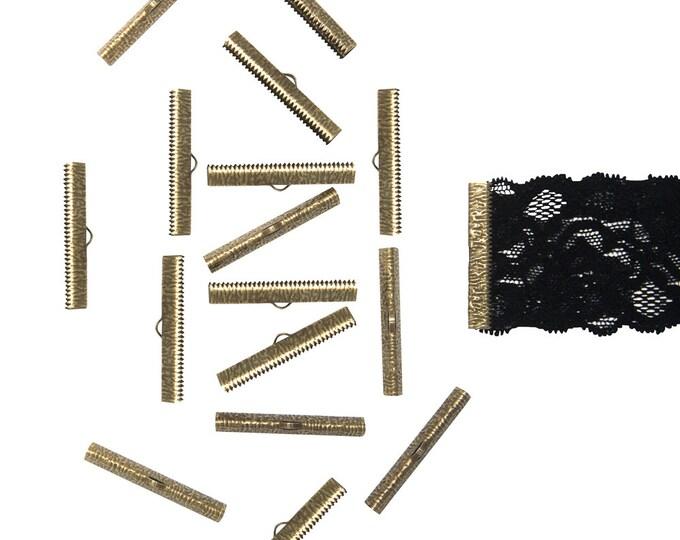 150 pieces  40mm ( 1  9/16 inch ) Antique Bronze Ribbon Clamp End Crimps - Artisan Series