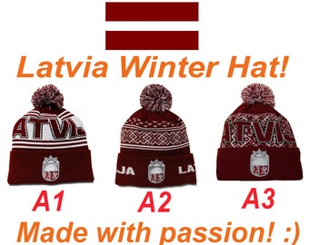 Latvia winter hat! Made in Latvia! LV flag colors! Knitted