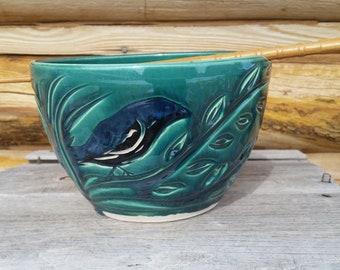 Pottery Noodle Bowl, Raven, Chopstick Bowl, Black Bird, Crow, Ramen Bowl, Green Bowl, Pho Bowl, LoMein, Spirals, Asian Bowl, Made in Montana