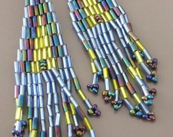Beaded Tassel Earrings - Beaded Earrings - Blue Earrings - Seed Bead Earrings - Gold Earrings - handmade jewelry