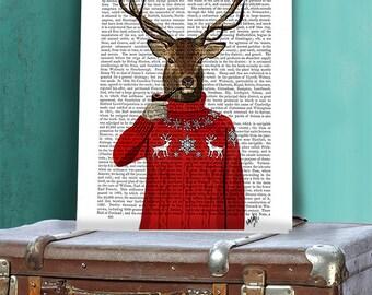 Deer in Ski Sweater - deer art print deer print Cabin décor Stag print deer wall art ski art ski lodge Cabin print cabin art man cave art