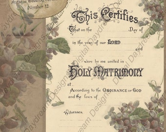 Wedding Printables Certificate Marriage Certificate Instant Download No 12 Spring Wedding Violets  Victorian Wedding Digital Download