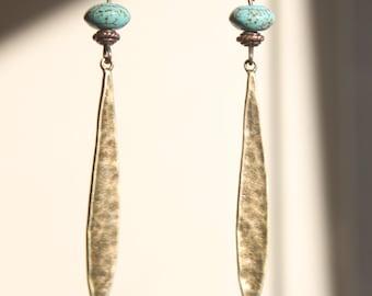Boho Turquoise Earrings Dangle Drop Earrings Brass Boho Earrings Bohemian Earrings  Long Light Birthday Gift For Her Gift for women gifts