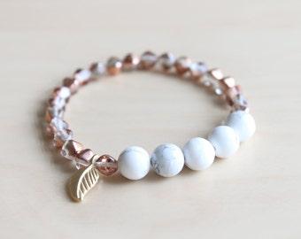 Mala bracelet / howlite mala / yoga jewelry / layer bracelet / stacking bracelet / leaf bracelet