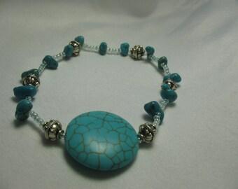 Round and chunks of turquoise bracelet.