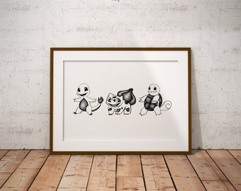 Pokemon Kanto Starters, Stippling Black And White Ink Drawing, Giclee Print