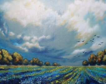 """Large abstract landscape painting, big sky, clouds and trees, 36x24x1.5"""""""