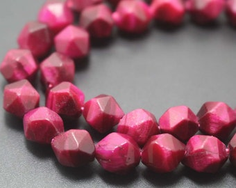 Faceted Rese Red Tigereye Nugget Beads, Rose Red Tigereye faceted nugget Beads ,15'' per strand,6mm 8mm 10mm 12mm