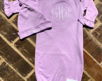 Baby girls lavender or light pink gown with embroidered name or monogram and matching hat with embroidered name