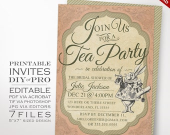 Alice in Wonderland Tea Party Invitation Template - Vintage Wonderland Invitation Printable DIY Mad Hattter Tea Invitation Editable Invite