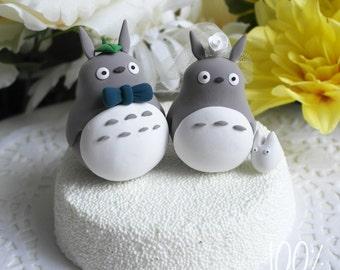 Custom Wedding Cake Topper - Cute Totoro Couple