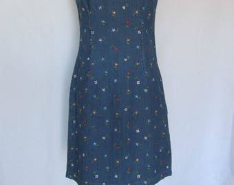 Vintage Blue Jean Emroidered Straight Dress by Carol Anderson