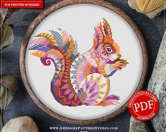 Cross Stitch Pattern Mandala Squirrel for Instant Download *P255 |Squirrel Cross-Stitch| Mandala Cross-Stitch| Counted Cross-Stitch