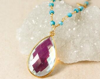 Mystic Quartz Teardrop Necklace - Turquoise Bead & Clover Charm Chain - Boho Layering Necklace
