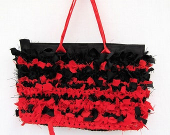 Handbag, handmade purse, boho bag, chabby chic, red purse, red and black purse, crochet handbag, tote, bohemian