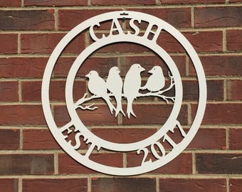 "BIRDS ON A LIMB- Family Established Last Name Metal Sign. 22"" Round."