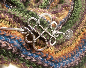 Shawl Pin Silver, Celtic Pin, Sweater Clasp, Fastener SP2