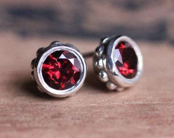 Garnet stud earrings, garnet studs, January birthstone earrings, red garnet earrings, bezel stud earrings, anniversary gift, ready to ship