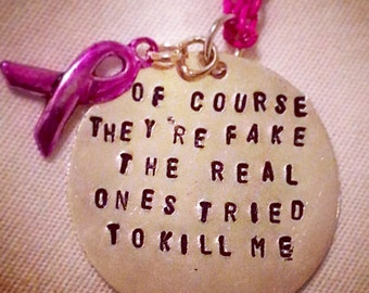 Breast Cancer Ribbon - Save the Tatas - Pink - Hand Stamped Necklace