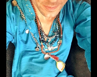 As Seen On Actor Alexander Polinsky Magnetic Hematite Alchemy Necklace Unisex Perfect For A Man or Woman