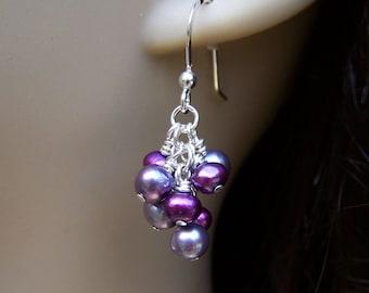 Freshwater Pearl Earrings. Cluster Earrings. Purple Pearl Earrings. Pearl Cluster Earrings. June Birthstone