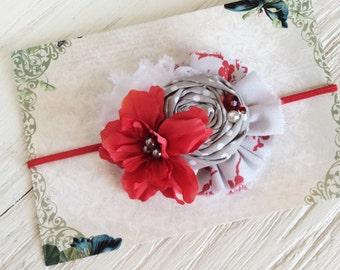 red gray white headband baby headbands matilda jane m2m headband toddler headband fabric flower headband persnickety m2m headband