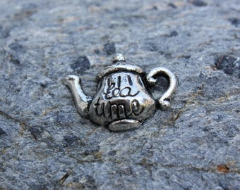 teapot charm in silver