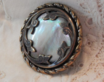 Iridescent Shell Set in Heavy Silvered Brass with Twist Border - Antique Button