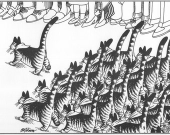 Scout Cats on Parade Original Vintage Art, B Kliban Book Plate Print  Highly Decorative Wall Hanging.