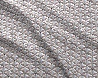Geodesic Fabric - Geodesic Globe - Storm By Ejrippy - Geodesic Geometric Triangles Gray White Cotton Fabric By The Yard With Spoonflower