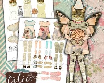 Bedruckbar, Papier-Puppen, Katze Papierpuppen, Digital, Collage Blatt, Mixed Media Art, digitale Puppen, druckbare Puppen, Kätzchen, Katzen, Calico