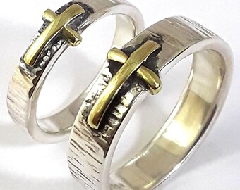 Cross Band Set  18k Gold plated & Sterling Silver Hand Made