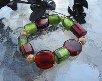 Chunky bracelet, Beaded bracelet, Stretch bracelet, Unique bracelet, Green brown bracelet, Handmade bracelet