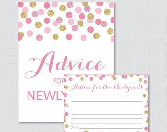 Advice for the Newlyweds Pink and Gold Bridal Shower - Printable Pink and Gold Glitter Bridal Shower Advice Cards and Sign - 0001-P
