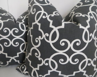 SALE !!!Dark Gray And White Pillow Cover, Gray And White Pillows, Gray Pillow, White Pillow, Fretwork Pillow,Cushion Cover