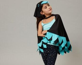 bird cape & headscarf outfit