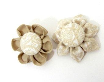 Set of 2 Flower Magnets in Tan, Fridge Magnets, Magnetic, Fabric Flower, Kanzashi Flower, Bulletin Board Magnet