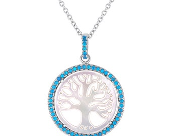 Tree-of-Life Necklace, 925 Sterling Silver with Personalized Birthstones