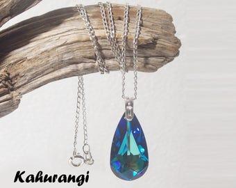Bermuda Blue necklace,925 Sterling silver,Swarovski blue necklace, Swarovski bermuda necklace,Fashion necklace,fashion blue necklace