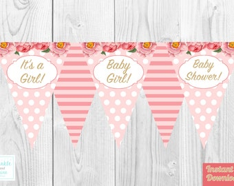 It's A Girl, Baby Shower, Baby girl, Bunting, Banner, Pink, Floral Bunting, Striped Banner, Baby Shower Decoration, Baby Shower.