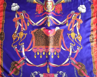 Wow!! Vintage scarf baroque luxury design/ blue and red scarf/ like hermes scarf