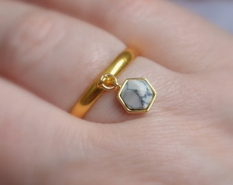 Gold Charm Ring, White Howlite Stone, Geometric Charm, Gold Plated, Adjustable Size, Affordable, Fun Marble Look Jewelry