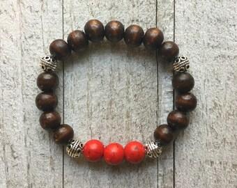 Howlite & Wood Beaded Bracelet